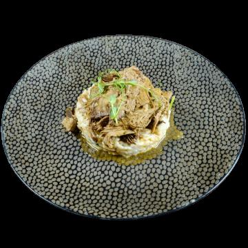 Бавно печено агнешко на пещ с ориз Арборио,гъби и спанак